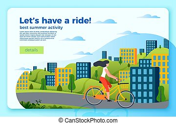 Vector bicycle ride banner template with girl