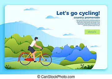 Vector bicycle ride banner  with man on a bike