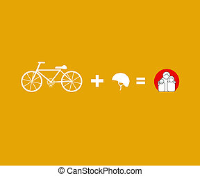 Vector bicycle riding safety helmet campaign concept -...