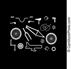 Vector bicycle spare parts icons set silhouette