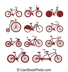 Vector bicycles vintage style old bike transport retro ride vehicle summer cycle transportation illustration