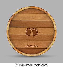 vector, bier, etiket, in, vorm, houten vat