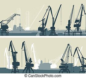 Vector big banners of port with cargo crane towers.