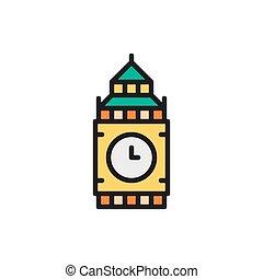 Vector Big Ben, United Kingdom, landmark flat color line icon.