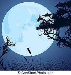 moon and silhouettes of tree branches - vector big blue moon...
