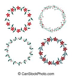 Vector big collection of hand drawn christmas wreaths
