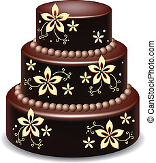 chocolate cake - vector big delicious chocolate cake