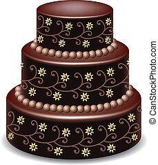 vector big delicious chocolate cake