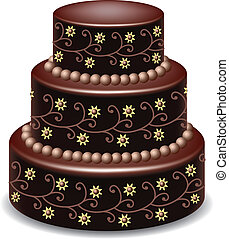 chocolate cake - vector big delicious chocolate cake