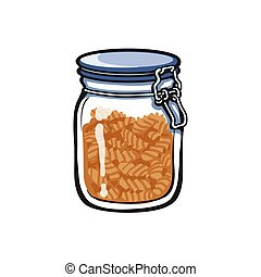 vector big glass jar with swing top lid sketch cartoon...