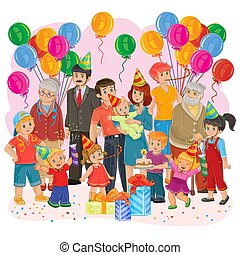 Vector big happy family together celebrate a birthday with gifts, balloons and cake