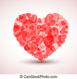 Vector Big heart made from smaller hearts