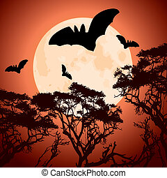big red moon, trees and bats