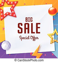 Vector big sale banner with elements on paper, on colorful background