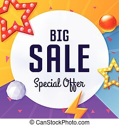 Vector big sale cover with elements, on colorful background