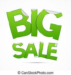 Vector Big Sale Green Sticker - Label on Grey Background