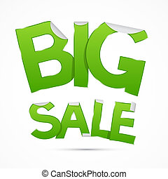 Vector Big Sale Green Sticker - Label on Grey Background