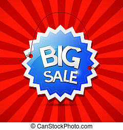 Vector Big Sale Icon - Blue Label on Red Background