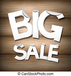 Vector Big Sale Sticker - Label on Wooden Background