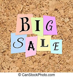 Vector Big Sale Words from Color Paper over cork texture