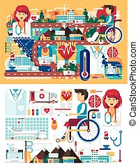 Vector big set design illustration medicine health care of patient medical insurance treatment illness and recovery doctor nurse ambulance on road near hospital pharmacy polyclinic in flat style