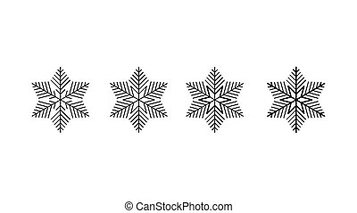 Vector big set of black Snowflakes design element on white background. Different designs.