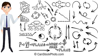 Vector Big Set of Business Hand Drawn Doodle Elements Isolated on White Background, Black Drawings and Cartoon Businessman.