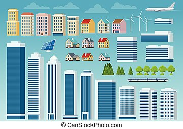 Vector big set of city and suburban constructor. City street, large modern buildings, cityscape, cars, trees, plane, urban infrastructure isolated. Elements to make your own city.