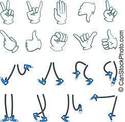 Vector big set of hands and legs. Collection for cartoon animation