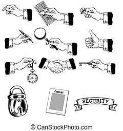 Vector big set of icons of mens hands making various gestures, holding money, pen, magnifying glass, key, pocket watch