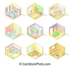 Vector big set of isometric home interiors