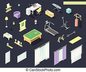 Vector big set of low poly isometric furniture and decoration for home interiors