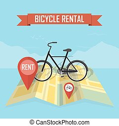 Vector bike rental map background