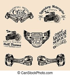 Vector biker club signs. Motorcycle repair logos set. Retro hand sketched garage labels. Custom chopper store emblems.