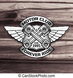 Vector biker logo illustration. Motor club piston vintage ...