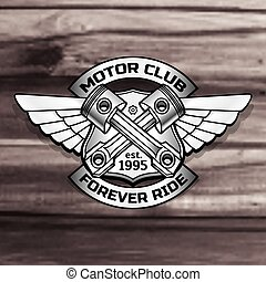 Vector biker logo illustration. Motor club piston vintage steel labels. Racer insignia