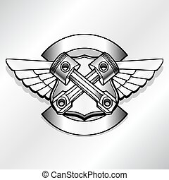 Vector biker logo illustration. Motor club piston vintage...