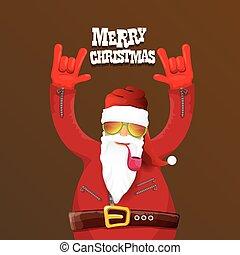 vector biker santa claus with smoking pipe. Christmas...