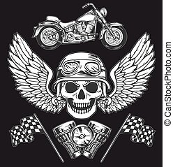 Vector biker set Hand drawn elements Repair Garage Motorcycle Biker Rider Freedom