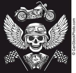 Vector biker set Hand drawn elements Repair Garage Motorcycle Biker Rider Freedom