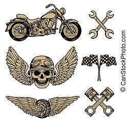 Vector biker set Hand drawn elements Repair Garage...