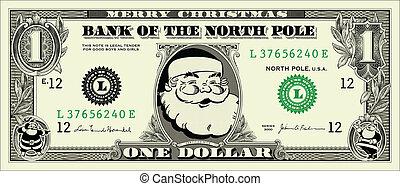 vector, billete de un dólar, santa, uno