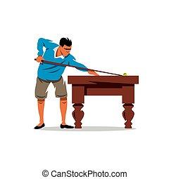 vector, billiard, spotprent, illustration.