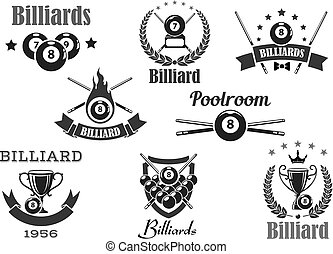Billiards club or poolroom sport game tournament awards vector icons. Isolated symbols or badges of pool cues and balls, victory goblet cup, champion winner laurel wreath with crown and stars