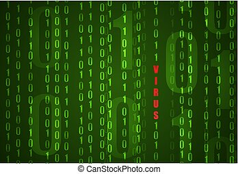VECTOR Binary Code Background, Computer Virus Concept.
