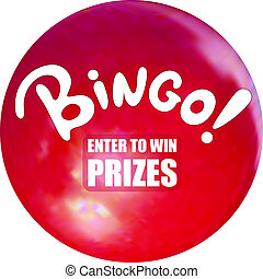 Vector Bingo Ball, Relistic Lottery Ball and Cartoon Word, Enter to Win Prizes Button, Illustration.