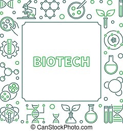Vector Biotech concept creative square outline frame or illustration