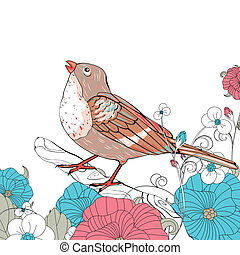 Vector Bird and Floral Elements