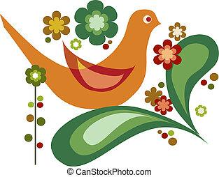 cute orange bird and colorful flowers design