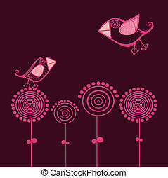 vector bird card and flowers